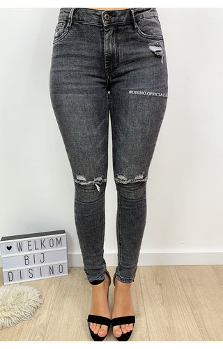 QUEEN HEARTS JEANS - GREY - SUPER SKINNY RIPPED KNEE - 9003