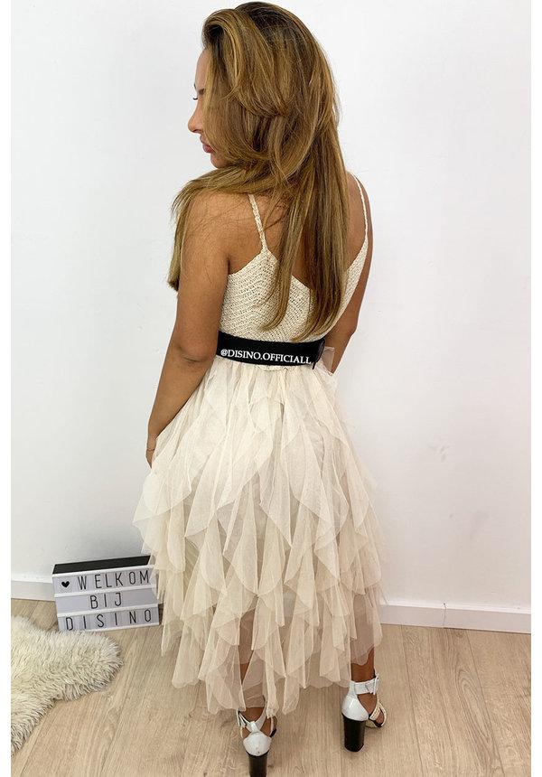 BEIGE - 'ROCHELLE DRESS' - TULE MESH LAYERED DRESS