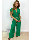 GREEN - 'NORA' - SOFT TOUCH PLISSE JUMPSUIT