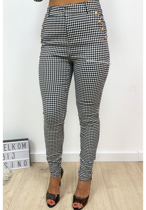 CHECKERED - 'GLENNIS' - PREMIUM QUALITY GOLD BUTTON PANTS