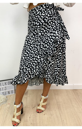 BLACK - 'CATHY' - LEOPARD DOTTED WRAP ON MIDI SKIRT