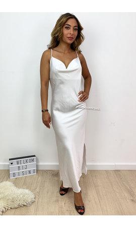 WHITE - 'SELMA' - SATIN DROP DRESS
