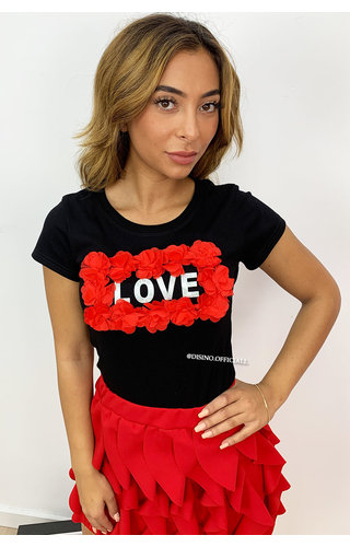 BLACK - 'LOVE BOXED ROSES' - FLORAL 3D TEE