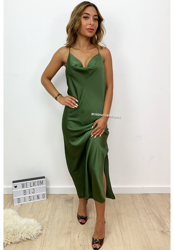 KHAKI GREEN - 'SELMA' - SATIN DROP DRESS