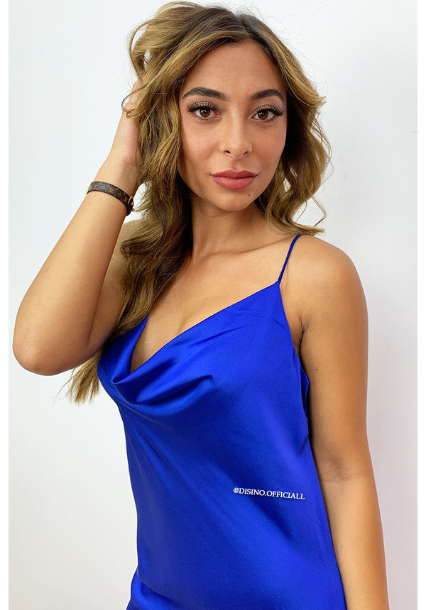 ROYAL BLUE - 'SELMA' - SATIN DROP DRESS