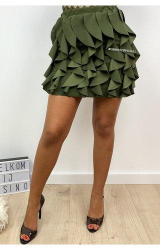 KHAKI GREEN - 'BUBBLEGUM' - RUFFLE STRETCH SKIRT