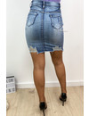 LIGHT BLUE - 'LISA' - SUPER STRETCH DISTRESSED DENIM SKIRT