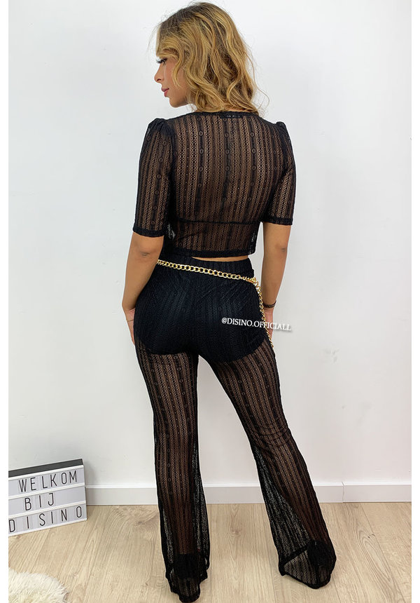 BLACK - 'KITTY' - FESTIVAL LACE FLARE TWO PIECE