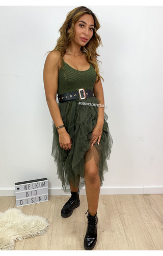 KHAKI GREEN - 'ROCHELLE DRESS' - TULE MESH LAYERED DRESS
