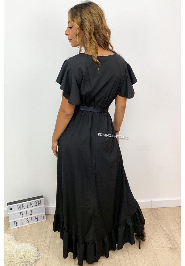 BLACK - 'ISABEL' - SPAIN RUFFLE MAXI DRESS