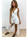WHITE - 'MEGAN' - IBIZA LACE MAXI PLAYSUIT WITH CHAIN BELT