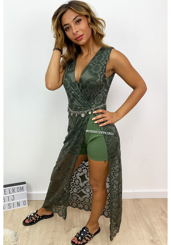 KHAKI GREEN - 'MEGAN' - IBIZA LACE MAXI PLAYSUIT WITH CHAIN BELT