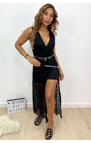 BLACK - 'MEGAN' - IBIZA LACE MAXI PLAYSUIT WITH CHAIN BELT