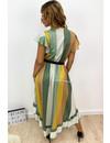 KHAKI GREEN - 'GRACE' - GLITTERLY STRIPED RUFFLE DRESS