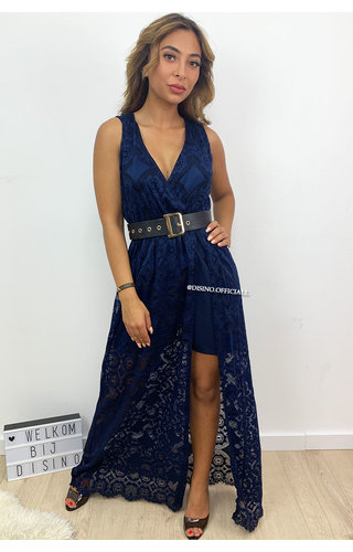 NAVY BLUE - 'MELANY' - IBIZA LACE MAXI PLAYSUIT