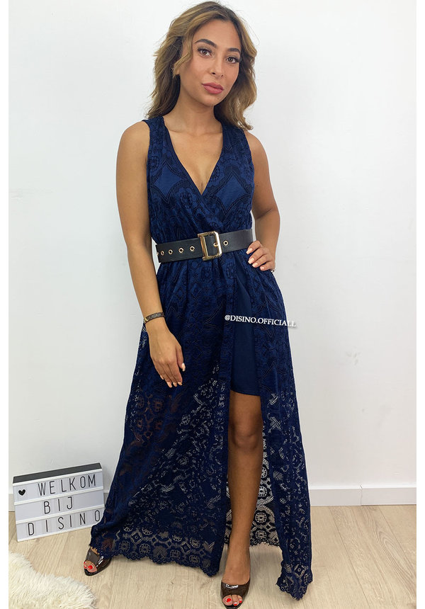 NAVY BLUE - 'MELANY' - IBIZA LACE MAXI PLAYSUIT