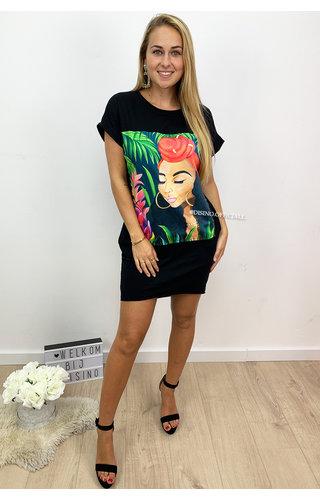 BLACK - 'POOKIE LADY' - OVERSIZED ART TEE POCKET DRESS