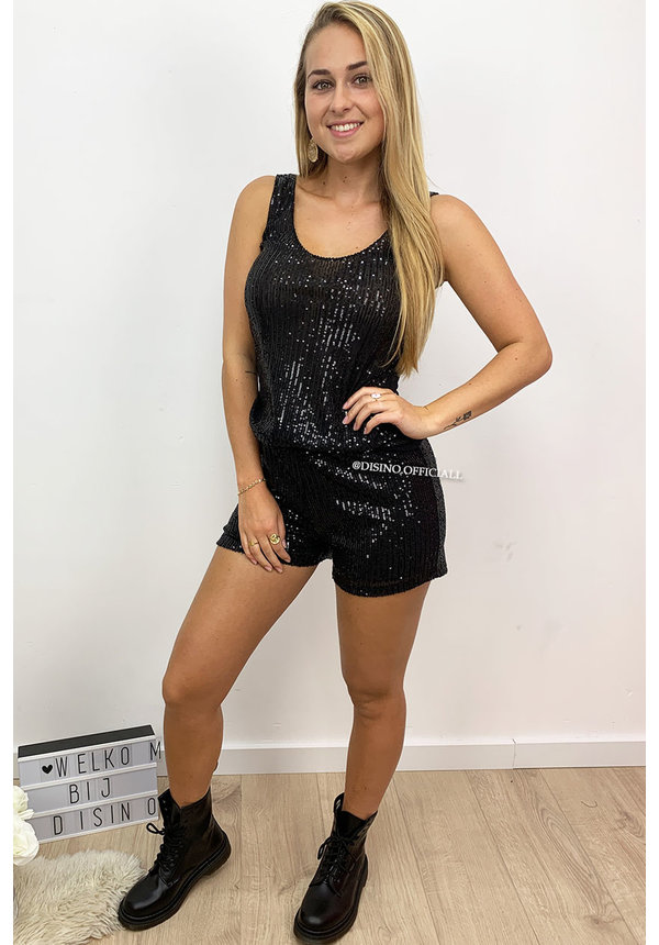 BLACK - 'ALYSSA' - ALL OVER SEQUIN SHORT