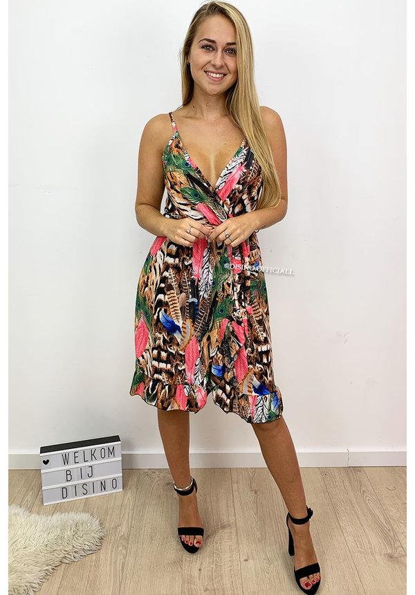 PINK - 'BORA BORA SHORT DRESS' - SPAGHETTI BAND RUFFLE DRESS