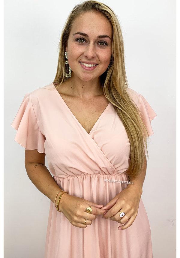 SOFT PINK - 'ISABEL' - SPAIN RUFFLE MAXI DRESS