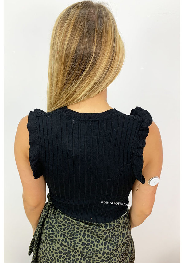 BLACK - 'RACHEL' - CUTE RIBBED RUFFLE TOP