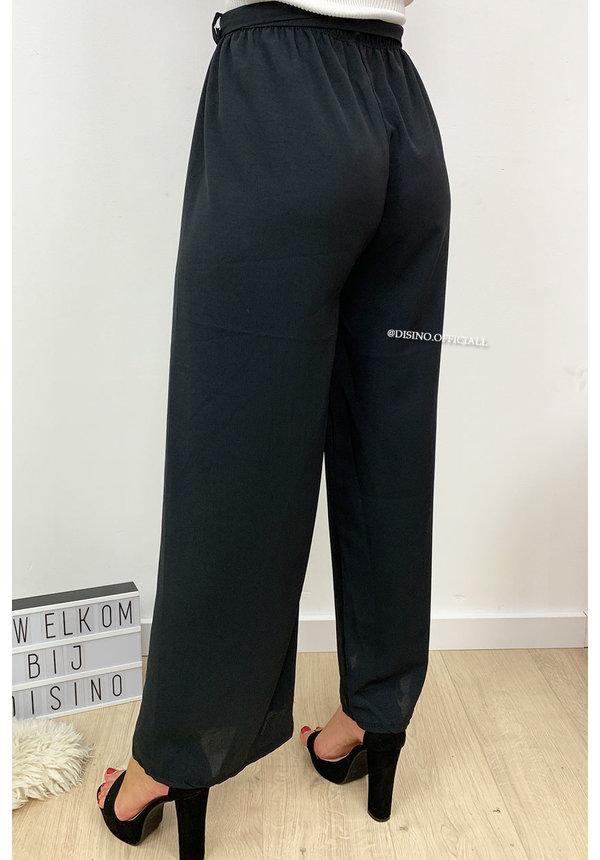 BLACK - 'LINDA' - HIGH RISE WIDE LEG PANTS