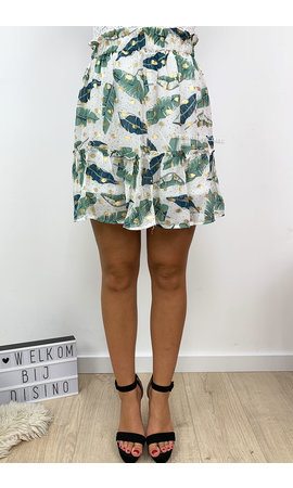 WHITE - 'PEARSON SKIRT' - GOLD DOTTED PALM LEAVES RUFFLE SKIRT