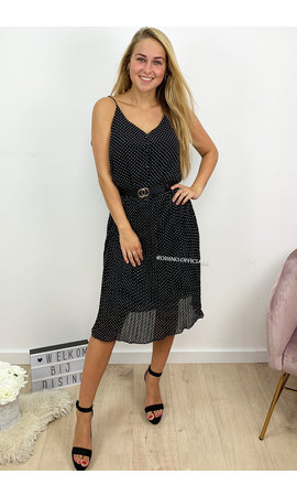 BLACK - 'MONROE' - POLKADOT PLISSE MIDI DRESS