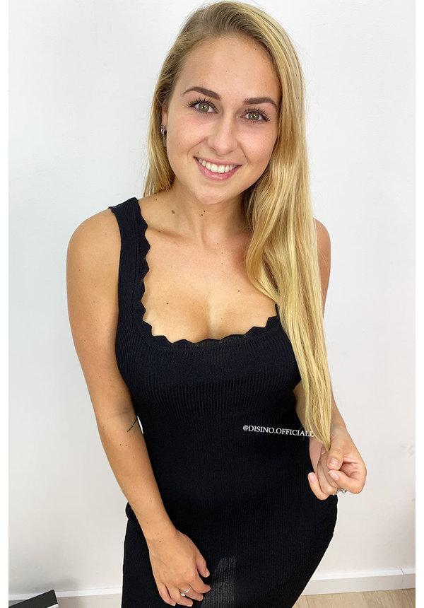BLACK - 'MILA' - SCALLOP BODYCON DRESS