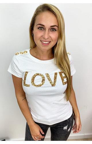 WHITE - 'GOLDIE LOVE' - GOLD BUTTON TEE