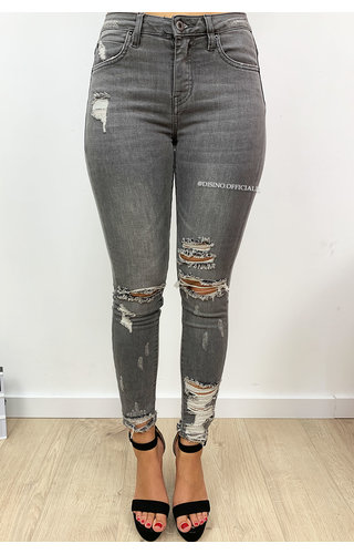 QUEEN HEARTS JEANS - GREY - RIPPED SKINNY CROP RIPS DETAIL 9205