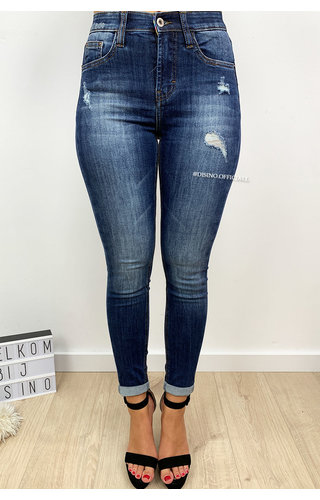 QUEEN HEARTS JEANS - DARK BLUE - CLASSIC SUPER STRETCH SKINNY JEANS  - 647