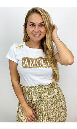 WHITE - AMOUR GOLD PAILLET BOXED - TEE