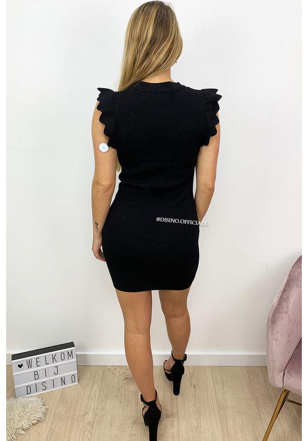 BLACK - 'RUBIE' - RUFFLE SHOULDER BODYCON DRESS