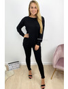 BLACK - 'KAYLEE' - FASHIONABLE SOFT COMFY SUIT