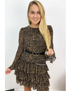 BROWN - 'ILSE' - LEOPARD PRINT LONG SLEEVE RUFFLE DRESS