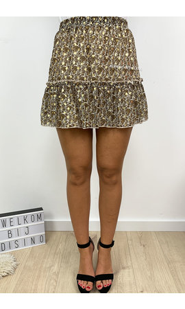 GOLD - 'SAVANNAH' - FLORAL GOLD DOTTED RUFFLE SKIRT