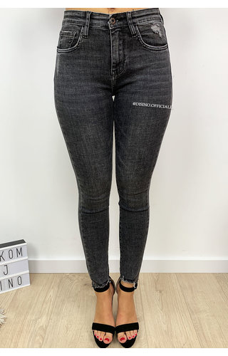 QUEEN HEARTS JEANS - DARK GREY - SKINNY JEANS HIGH WAIST - 9571