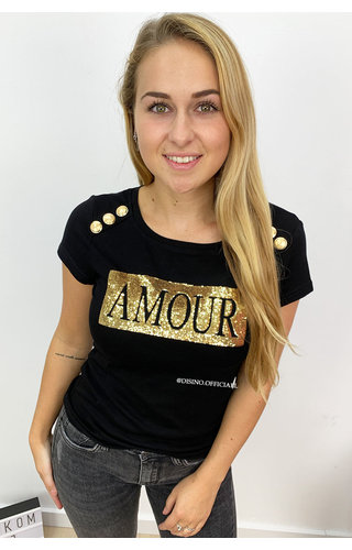 BLACK - AMOUR GOLD PAILLET BOXED - TEE