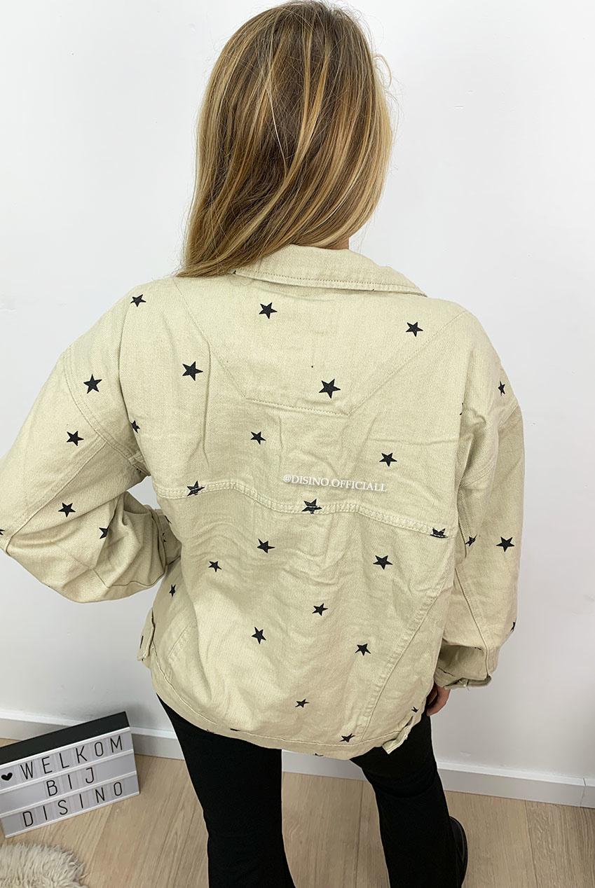 BEIGE 'STARDUST' OVERSIZED STARS DENIM JACK