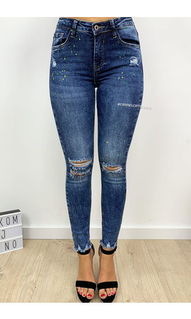 QUEEN HEARTS JEANS - BLUE - RIPPED KNEE PAINT SPLATTER - 661