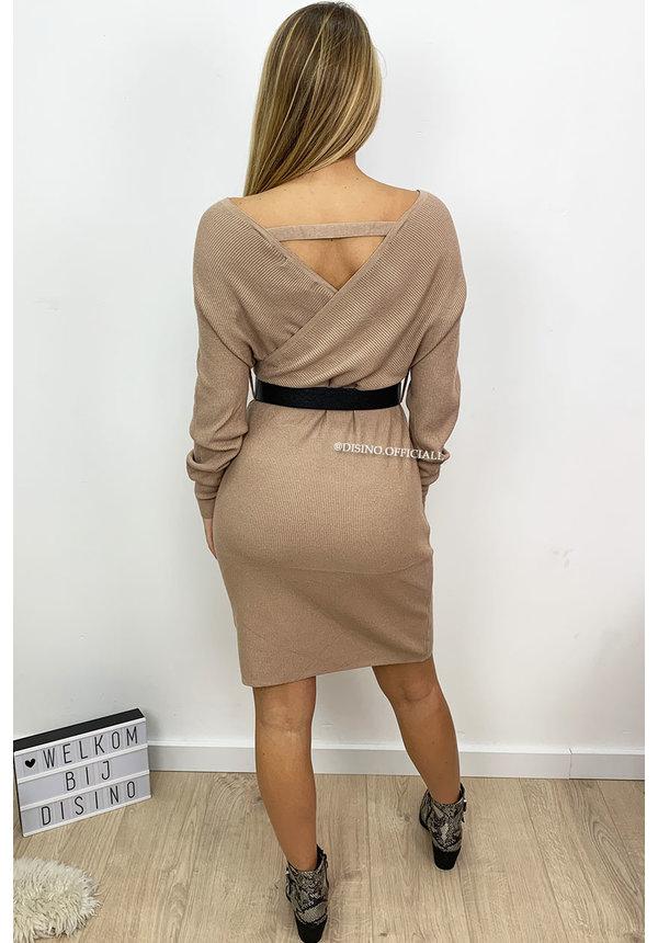 SAND - 'SUZE DRESS' - PREMIUM QUALITY KNITTED V-DRESS