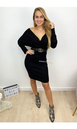 BLACK - 'SUZE DRESS' - PREMIUM QUALITY KNITTED V-DRESS