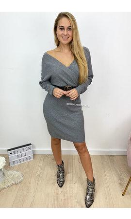 GREY - 'SUZE DRESS' - PREMIUM QUALITY KNITTED V-DRESS