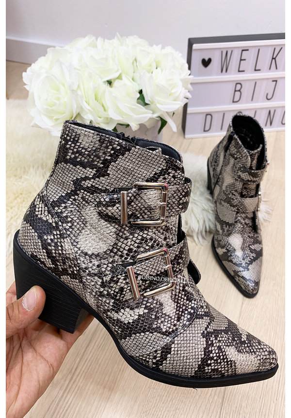 GREY - 'ON POINT' - SNAKE PRINT BELTED BOOTZ