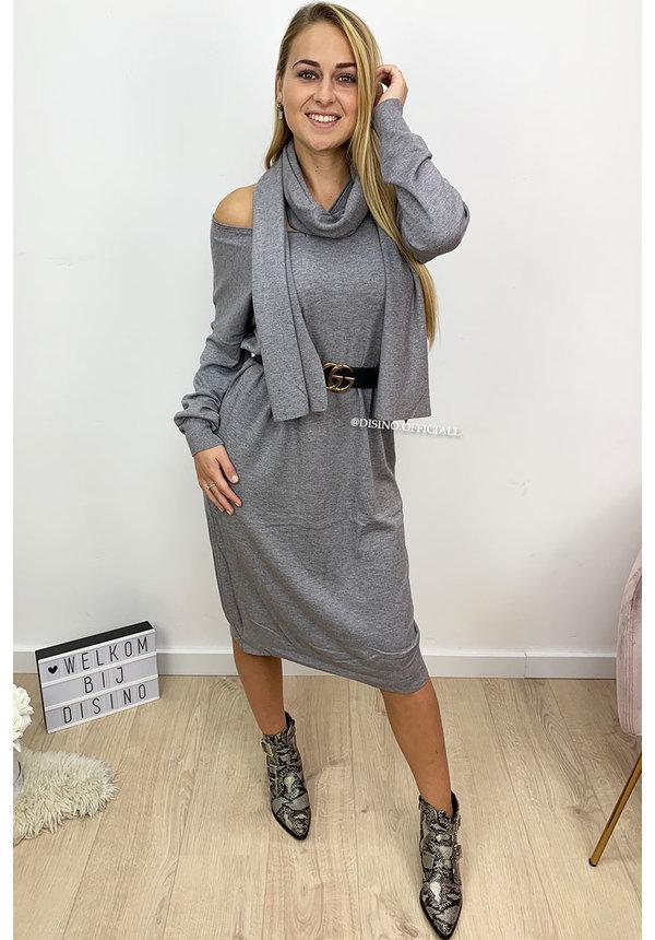 GREY - 'ELLI' - SCARF OVERSIZED COMFY SWEATER DRESS