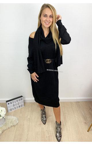 BLACK - 'ELLI' - SCARF OVERSIZED COMFY SWEATER DRESS