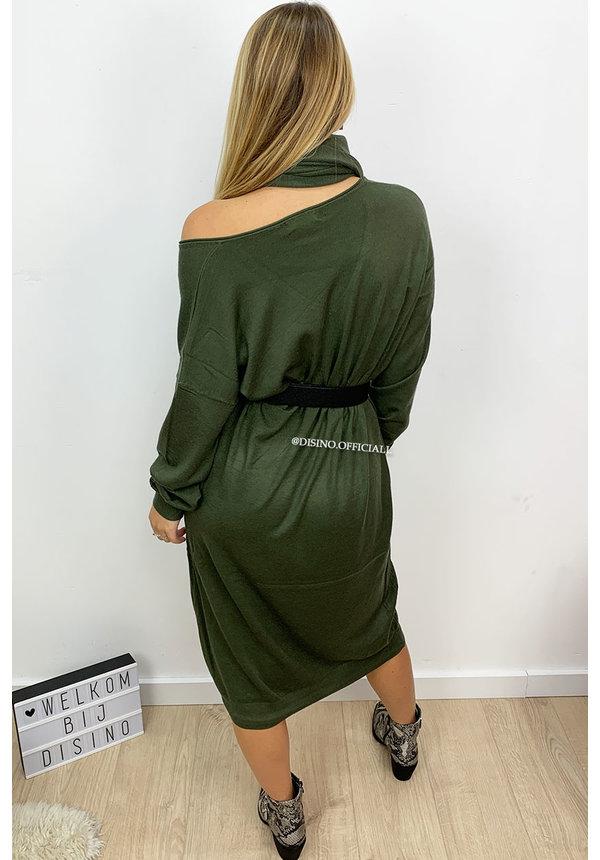 KHAKI GREEN - 'ELLI' - SCARF OVERSIZED COMFY SWEATER DRESS
