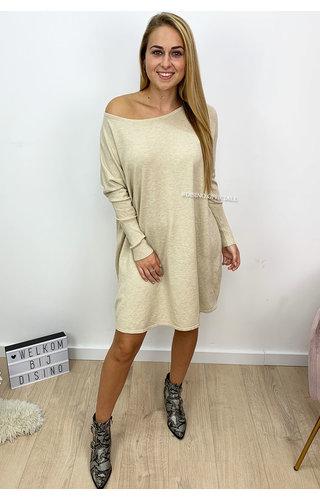 BEIGE - 'JACKY' - OVERSIZED COMFY SWEATER DRESS