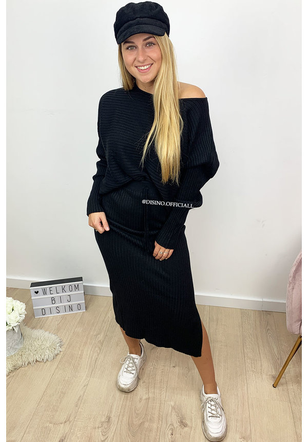 BLACK - 'MELISSA' - PREMIUM QUALITY RIBBED TWIN SKIRT SET